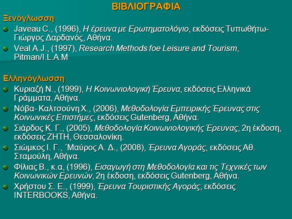 ΒΙΒΛΙΟΓΡΑΦΙΑΞενόγλωσση Javeau C., (1996), Η έρευνα με Ερωτηματολόγιο, εκδόσεις Τυπωθήτω- Γιώργος Δαρδανός, Αθήνα.