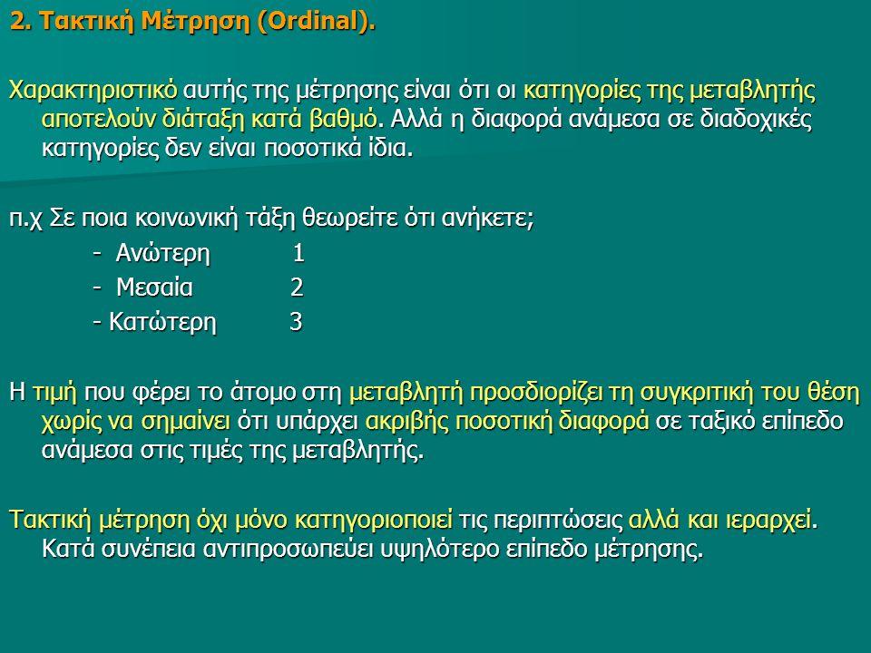 2. Τακτική Μέτρηση (Ordinal).