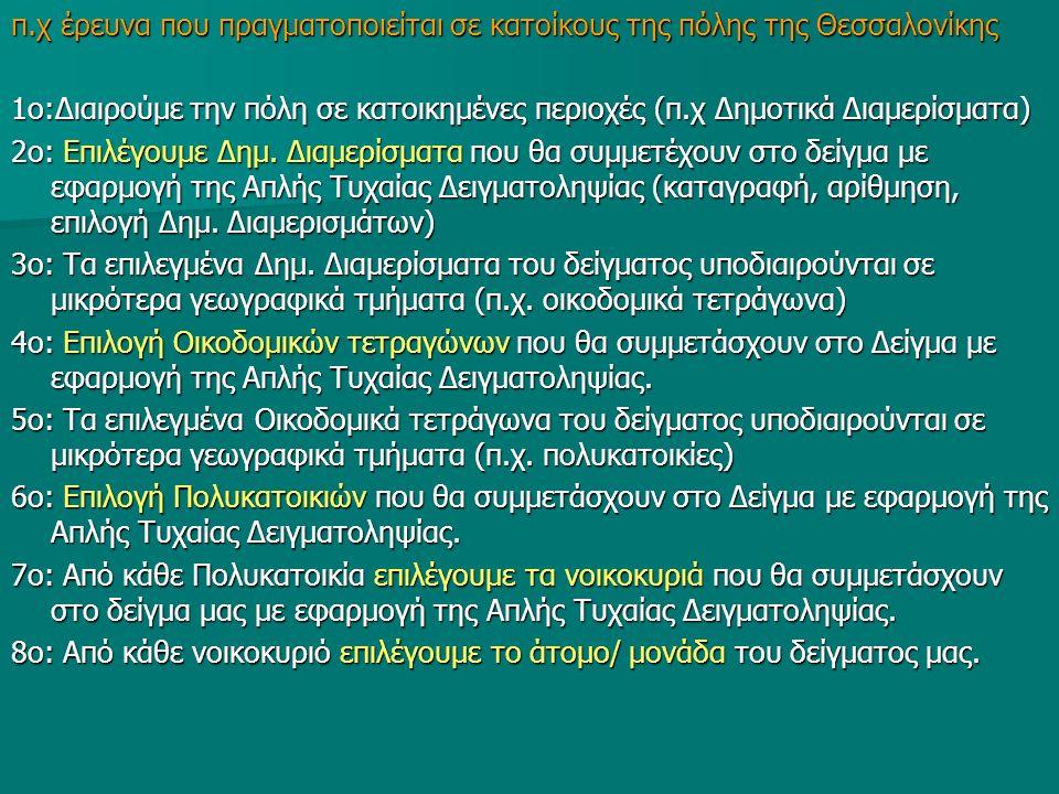 π.χ έρευνα που πραγματοποιείται σε κατοίκους της πόλης της Θεσσαλονίκης 1ο:Διαιρούμε την πόλη σε κατοικημένες περιοχές (π.χ Δημοτικά Διαμερίσματα) 2ο: Επιλέγουμε Δημ.