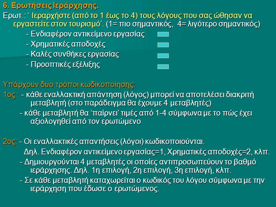 6. Ερωτήσεις Ιεράρχησης. Ερωτ.: ' Ιεραρχήστε (από το 1 έως το 4) τους λόγους που σας ώθησαν να εργαστείτε στον τουρισμό'. (1= πιο σημαντικός, 4= λιγότ