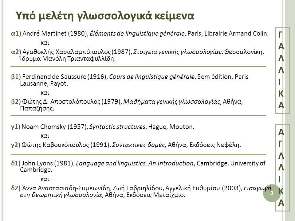 Υπό μελέτη γλωσσολογικά κείμενα α1) André Martinet (1980), Éléments de linguistique générale, Paris, Librairie Armand Colin.