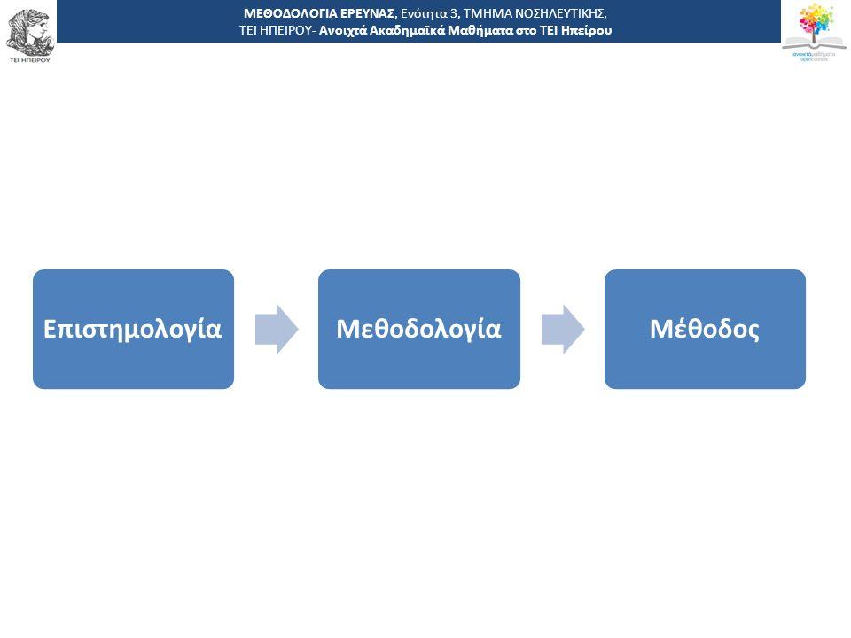 8 -,, ΤΕΙ ΗΠΕΙΡΟΥ - Ανοιχτά Ακαδημαϊκά Μαθήματα στο ΤΕΙ Ηπείρου ΜΕΘΟΔΟΛΟΓΙΑ ΕΡΕΥΝΑΣ, Ενότητα 3, ΤΜΗΜΑ ΝΟΣΗΛΕΥΤΙΚΗΣ, ΤΕΙ ΗΠΕΙΡΟΥ- Ανοιχτά Ακαδημαϊκά Μαθήματα στο ΤΕΙ Ηπείρου ΕπιστημολογίαΜεθοδολογίαΜέθοδος
