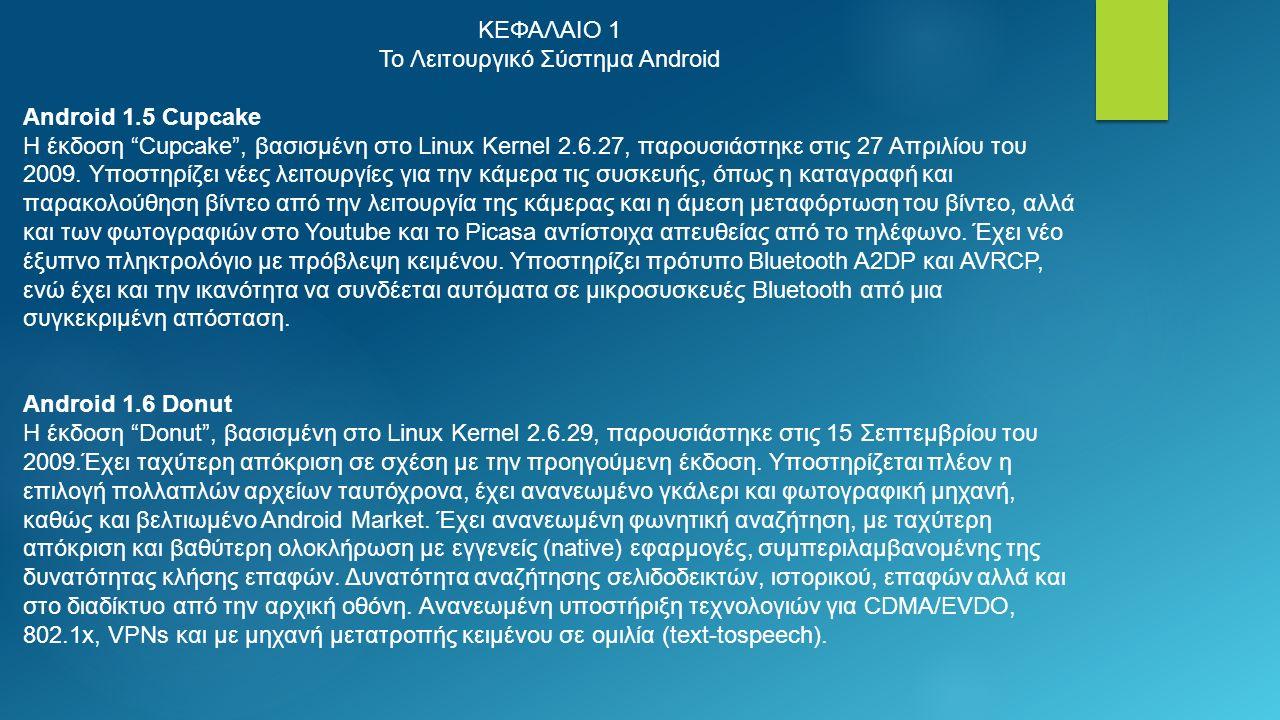 ΚΕΦΑΛΑΙΟ 1 Το Λειτουργικό Σύστημα Android Android 1.5 Cupcake Η έκδοση Cupcake , βασισμένη στο Linux Kernel 2.6.27, παρουσιάστηκε στις 27 Απριλίου του 2009.
