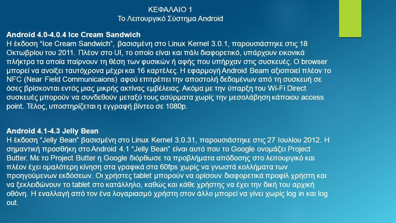 ΚΕΦΑΛΑΙΟ 1 Το Λειτουργικό Σύστημα Android Android 4.0-4.0.4 Ice Cream Sandwich Η έκδοση Ice Cream Sandwich , βασισμένη στο Linux Kernel 3.0.1, παρουσιάστηκε στις 18 Οκτωβρίου του 2011.