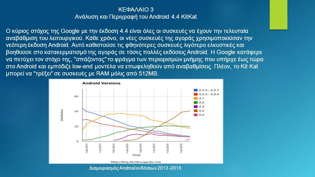 ΚΕΦΑΛΑΙΟ 3 Ανάλυση και Περιγραφή του Android 4.4 KitKat Ο κύριος στόχος της Google με την έκδοση 4.4 είναι όλες οι συσκευές να έχουν την τελευταία αναβάθμιση του λειτουργικού.