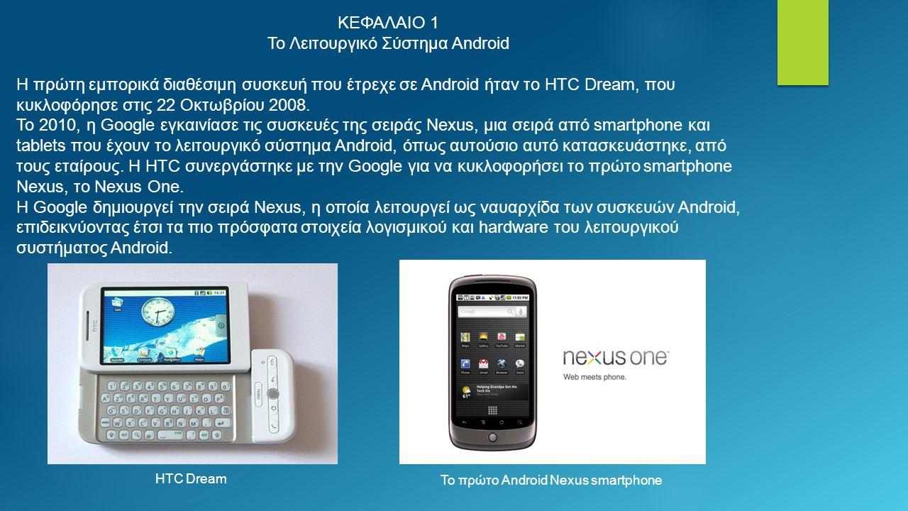 ΚΕΦΑΛΑΙΟ 1 Το Λειτουργικό Σύστημα Android Η πρώτη εμπορικά διαθέσιμη συσκευή που έτρεχε σε Android ήταν το HTC Dream, που κυκλοφόρησε στις 22 Οκτωβρίου 2008.