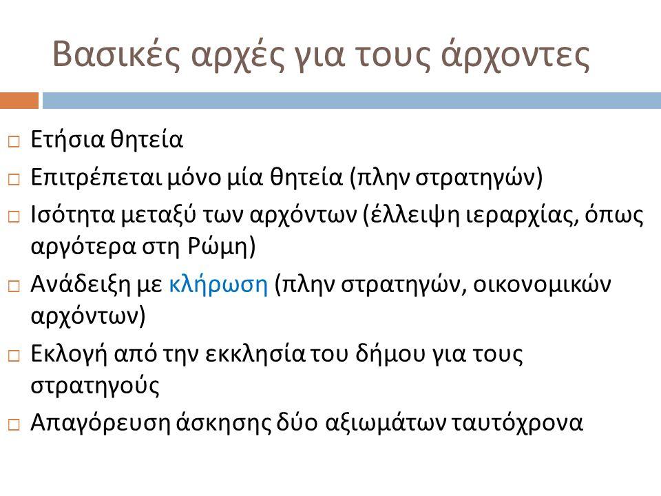 Βασικές αρχές για τους άρχοντες  Ετήσια θητεία  Επιτρέπεται μόνο μία θητεία ( πλην στρατηγών )  Ισότητα μεταξύ των αρχόντων ( έλλειψη ιεραρχίας, όπ