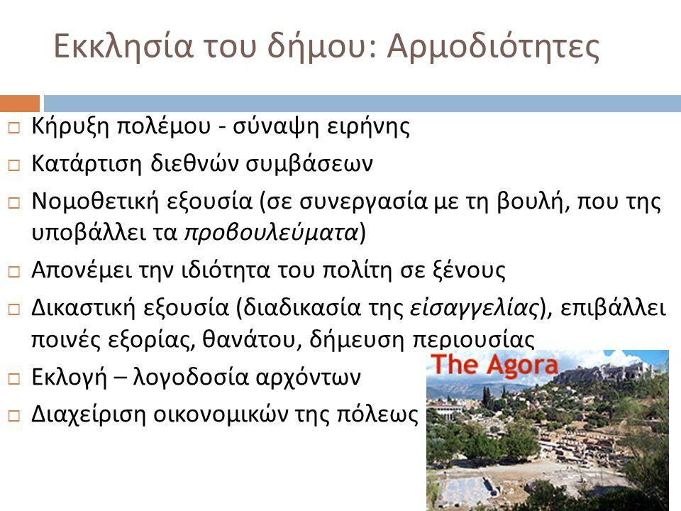 Εκκλησία του δήμου : Αρμοδιότητες  Κήρυξη πολέμου - σύναψη ειρήνης  Κατάρτιση διεθνών συμβάσεων  Νομοθετική εξουσία ( σε συνεργασία με τη βουλή, πο