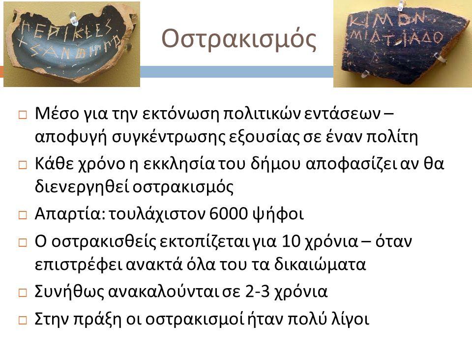 Αρμοδιότητες των Εννέα Αρχόντων  Στην αρχαϊκή εποχή : σημαντικά κυβερνητικά καθήκοντα  Μετά τον Σόλωνα, οι αποφάσεις τους προσβάλλονται με έφεση ενώπιον του δικαστηρίου της Ηλιαίας  Στην κλασική εποχή οι αρμοδιότητές τους περιορίζονται  Εκτελεστικές αρμοδιότητες  Ανακριτικές αρμοδιότητες  Προεδρία του δικαστηρίου που κρίνει την υπόθεση  Περιορισμένη εξουσία να επιβάλλουν πρόστιμα ( έως ορισμένο ποσό )