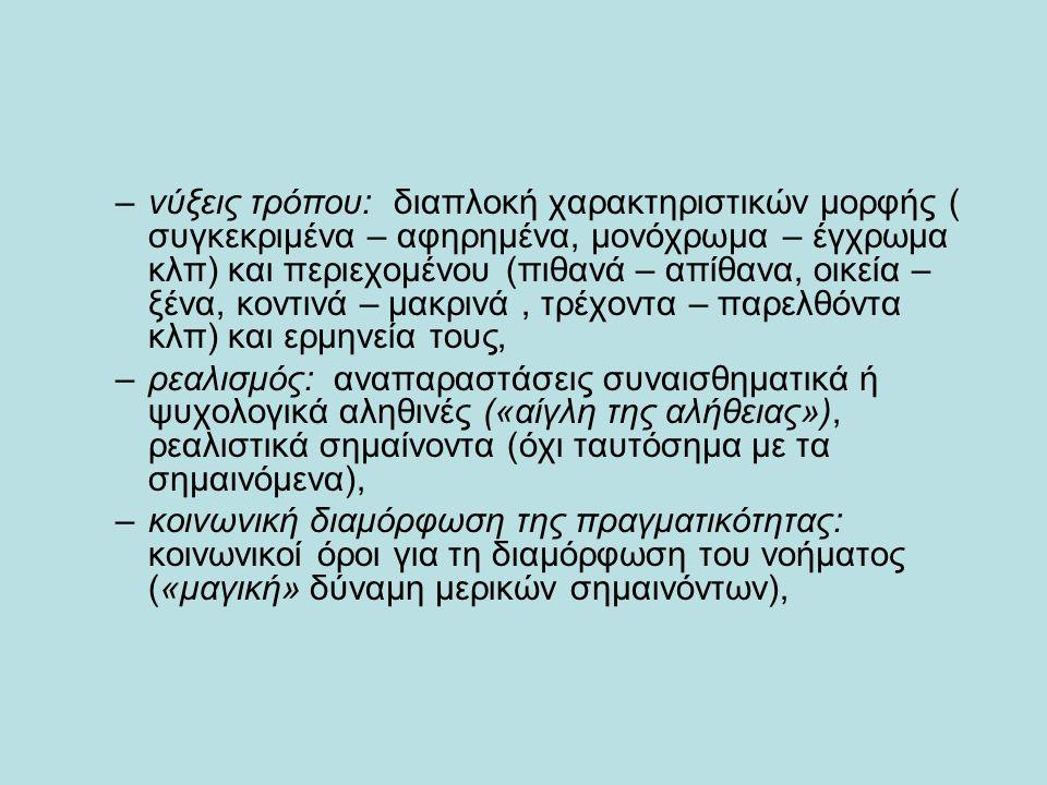 –νύξεις τρόπου: διαπλοκή χαρακτηριστικών μορφής ( συγκεκριμένα – αφηρημένα, μονόχρωμα – έγχρωμα κλπ) και περιεχομένου (πιθανά – απίθανα, οικεία – ξένα, κοντινά – μακρινά, τρέχοντα – παρελθόντα κλπ) και ερμηνεία τους, –ρεαλισμός: αναπαραστάσεις συναισθηματικά ή ψυχολογικά αληθινές («αίγλη της αλήθειας»), ρεαλιστικά σημαίνοντα (όχι ταυτόσημα με τα σημαινόμενα), –κοινωνική διαμόρφωση της πραγματικότητας: κοινωνικοί όροι για τη διαμόρφωση του νοήματος («μαγική» δύναμη μερικών σημαινόντων),