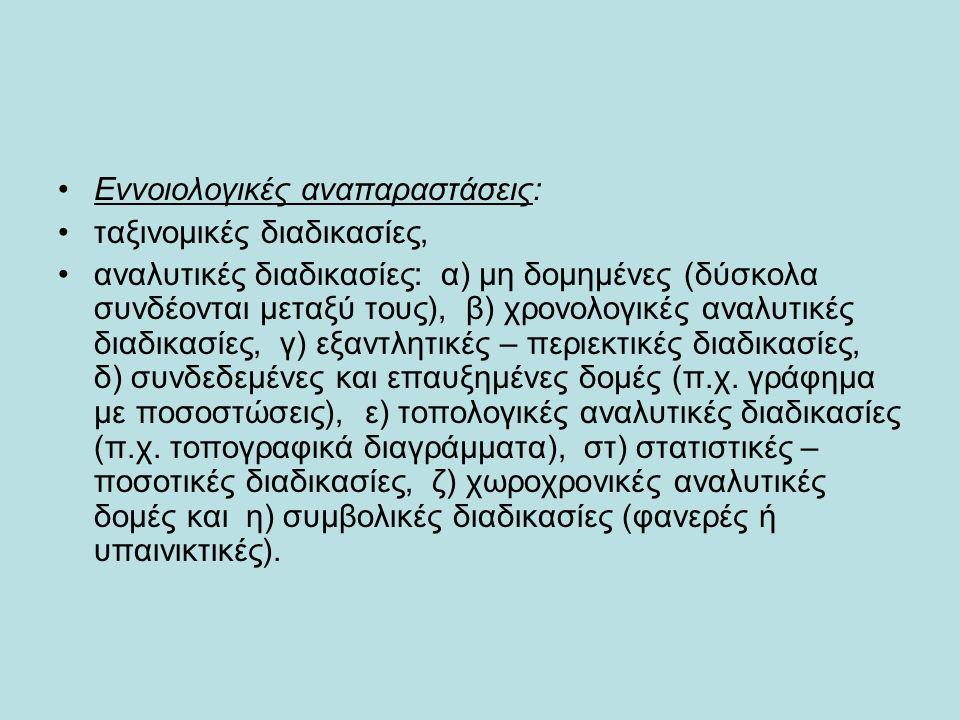 Εννοιολογικές αναπαραστάσεις: ταξινομικές διαδικασίες, αναλυτικές διαδικασίες: α) μη δομημένες (δύσκολα συνδέονται μεταξύ τους), β) χρονολογικές αναλυτικές διαδικασίες, γ) εξαντλητικές – περιεκτικές διαδικασίες, δ) συνδεδεμένες και επαυξημένες δομές (π.χ.