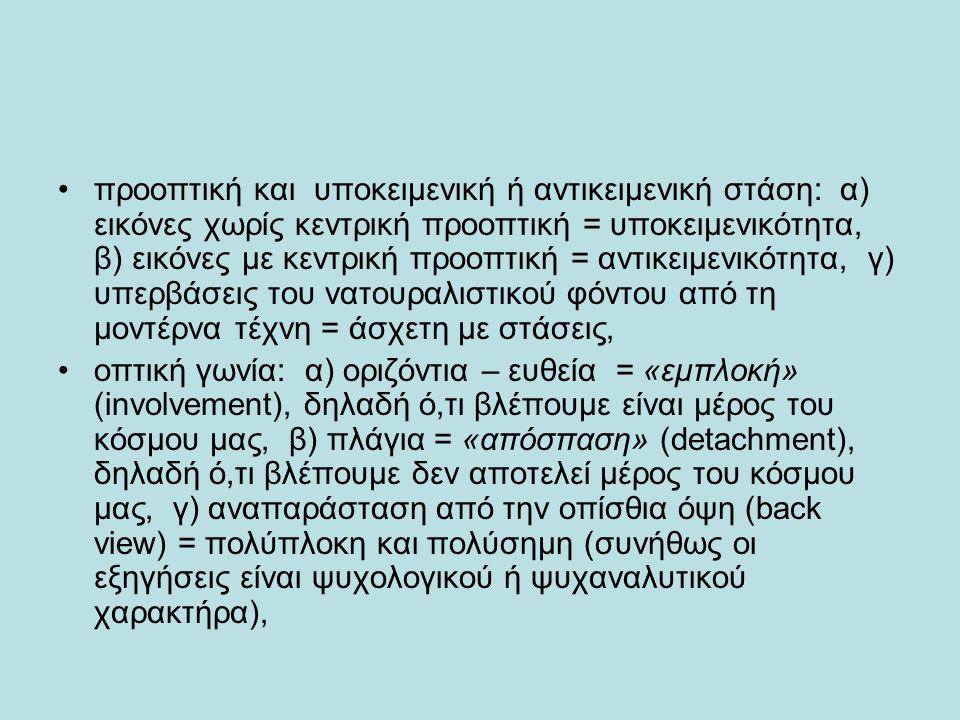 προοπτική και υποκειμενική ή αντικειμενική στάση: α) εικόνες χωρίς κεντρική προοπτική = υποκειμενικότητα, β) εικόνες με κεντρική προοπτική = αντικειμενικότητα, γ) υπερβάσεις του νατουραλιστικού φόντου από τη μοντέρνα τέχνη = άσχετη με στάσεις, οπτική γωνία: α) οριζόντια – ευθεία = «εμπλοκή» (involvement), δηλαδή ό,τι βλέπουμε είναι μέρος του κόσμου μας, β) πλάγια = «απόσπαση» (detachment), δηλαδή ό,τι βλέπουμε δεν αποτελεί μέρος του κόσμου μας, γ) αναπαράσταση από την οπίσθια όψη (back view) = πολύπλοκη και πολύσημη (συνήθως οι εξηγήσεις είναι ψυχολογικού ή ψυχαναλυτικού χαρακτήρα),