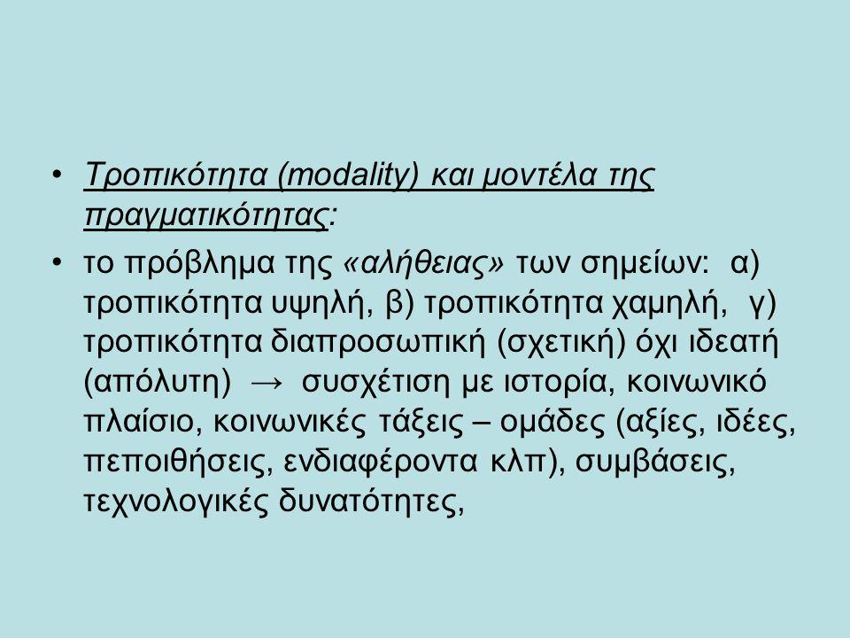 Τροπικότητα (modality) και μοντέλα της πραγματικότητας: το πρόβλημα της «αλήθειας» των σημείων: α) τροπικότητα υψηλή, β) τροπικότητα χαμηλή, γ) τροπικότητα διαπροσωπική (σχετική) όχι ιδεατή (απόλυτη) → συσχέτιση με ιστορία, κοινωνικό πλαίσιο, κοινωνικές τάξεις – ομάδες (αξίες, ιδέες, πεποιθήσεις, ενδιαφέροντα κλπ), συμβάσεις, τεχνολογικές δυνατότητες,