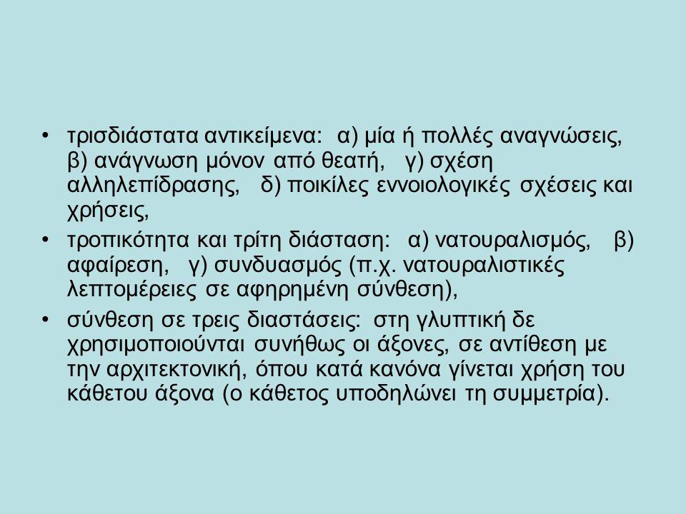 τρισδιάστατα αντικείμενα: α) μία ή πολλές αναγνώσεις, β) ανάγνωση μόνον από θεατή, γ) σχέση αλληλεπίδρασης, δ) ποικίλες εννοιολογικές σχέσεις και χρήσεις, τροπικότητα και τρίτη διάσταση: α) νατουραλισμός, β) αφαίρεση, γ) συνδυασμός (π.χ.
