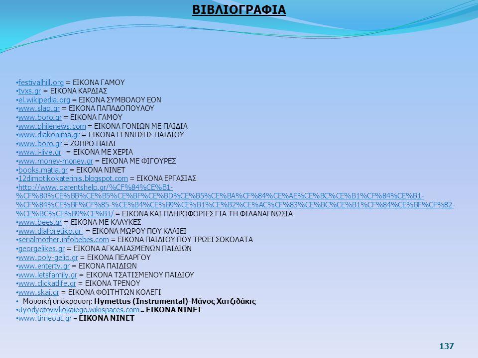 137 ΒΙΒΛΙΟΓΡΑΦΙΑ festivalhill.org = ΕΙΚΟΝΑ ΓΑΜΟΥ tvxs.gr = ΕΙΚΟΝΑ ΚΑΡΔΙΑΣ el.wikipedia.org = ΕΙΚΟΝΑ ΣΥΜΒΟΛΟΥ ΕΟΝ www.slap.gr = ΕΙΚΟΝΑ ΠΑΠΑΔΟΠΟΥΛΟΥ www