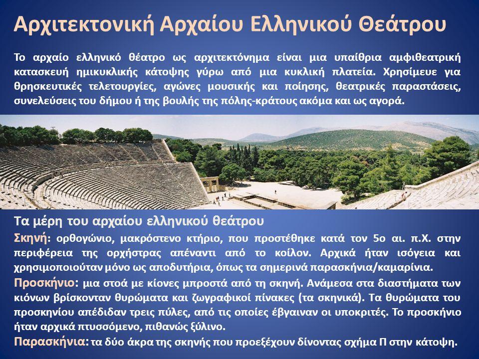Αρχιτεκτονική Αρχαίου Ελληνικού Θεάτρου Το αρχαίο ελληνικό θέατρο ως αρχιτεκτόνημα είναι μια υπαίθρια αμφιθεατρική κατασκευή ημικυκλικής κάτοψης γύρω από μια κυκλική πλατεία.