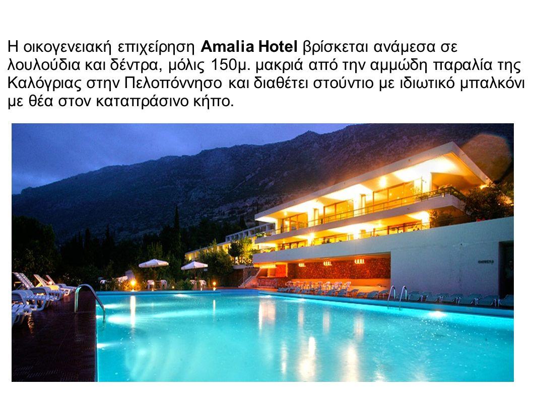 Η οικογενειακή επιχείρηση Amalia Hotel βρίσκεται ανάμεσα σε λουλούδια και δέντρα, μόλις 150μ.