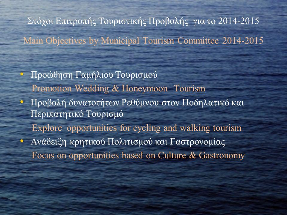 Στόχοι Επιτροπής Τουριστικής Προβολής για το 2014-2015 Main Objectives by Municipal Tourism Committee 2014-2015 Προώθηση Γαμήλιου Τουρισμού Promotion