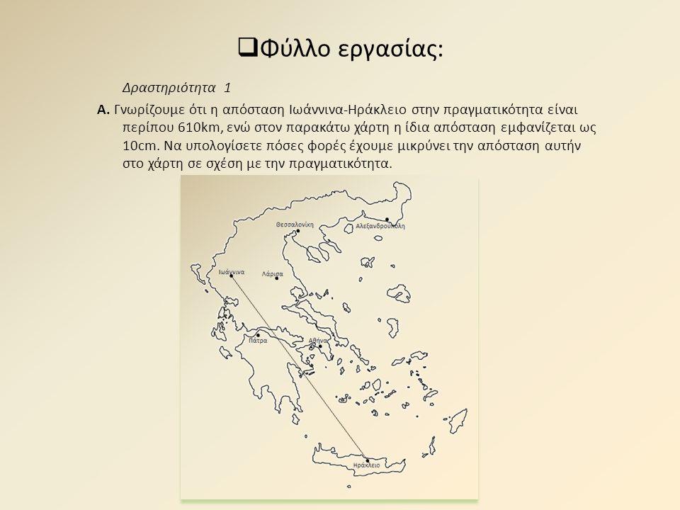  Φύλλο εργασίας: Δραστηριότητα 1 Α. Γνωρίζουμε ότι η απόσταση Ιωάννινα-Ηράκλειο στην πραγματικότητα είναι περίπου 610km, ενώ στον παρακάτω χάρτη η ίδ