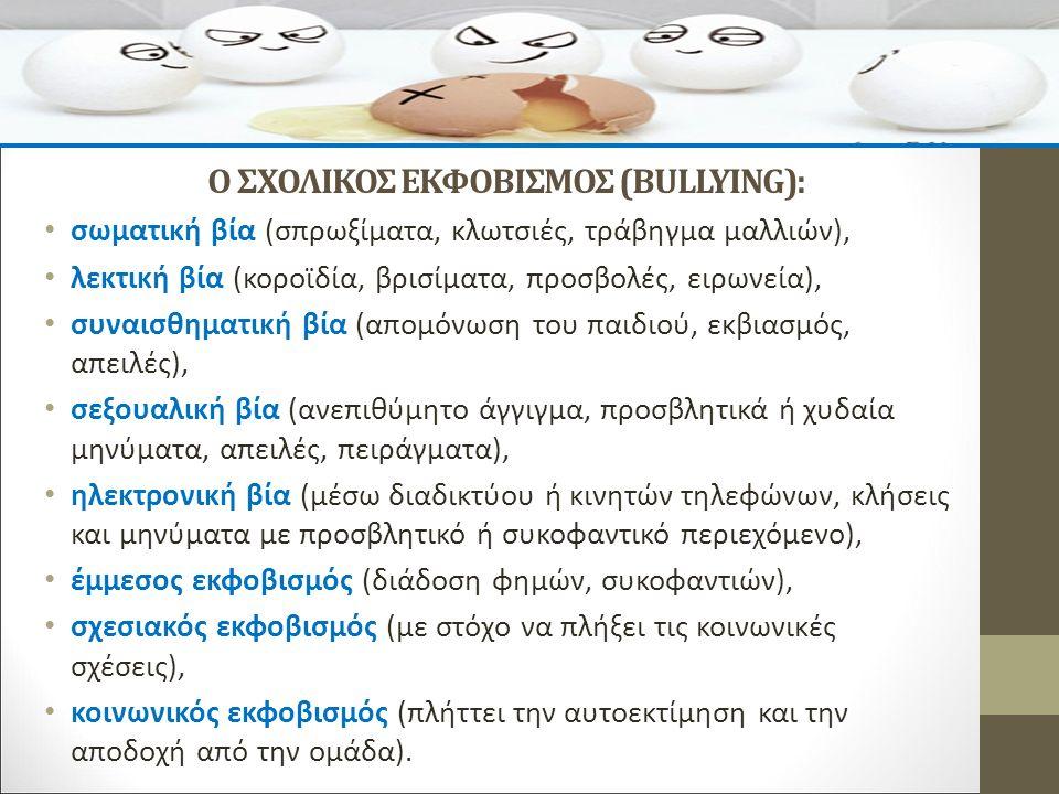 Ο ΣΧΟΛΙΚΟΣ ΕΚΦΟΒΙΣΜΟΣ (BULLYING): σωματική βία (σπρωξίματα, κλωτσιές, τράβηγμα μαλλιών), λεκτική βία (κοροϊδία, βρισίματα, προσβολές, ειρωνεία), συναισθηματική βία (απομόνωση του παιδιού, εκβιασμός, απειλές), σεξουαλική βία (ανεπιθύμητο άγγιγμα, προσβλητικά ή χυδαία μηνύματα, απειλές, πειράγματα), ηλεκτρονική βία (μέσω διαδικτύου ή κινητών τηλεφώνων, κλήσεις και μηνύματα με προσβλητικό ή συκοφαντικό περιεχόμενο), έμμεσος εκφοβισμός (διάδοση φημών, συκοφαντιών), σχεσιακός εκφοβισμός (με στόχο να πλήξει τις κοινωνικές σχέσεις), κοινωνικός εκφοβισμός (πλήττει την αυτοεκτίμηση και την αποδοχή από την ομάδα).