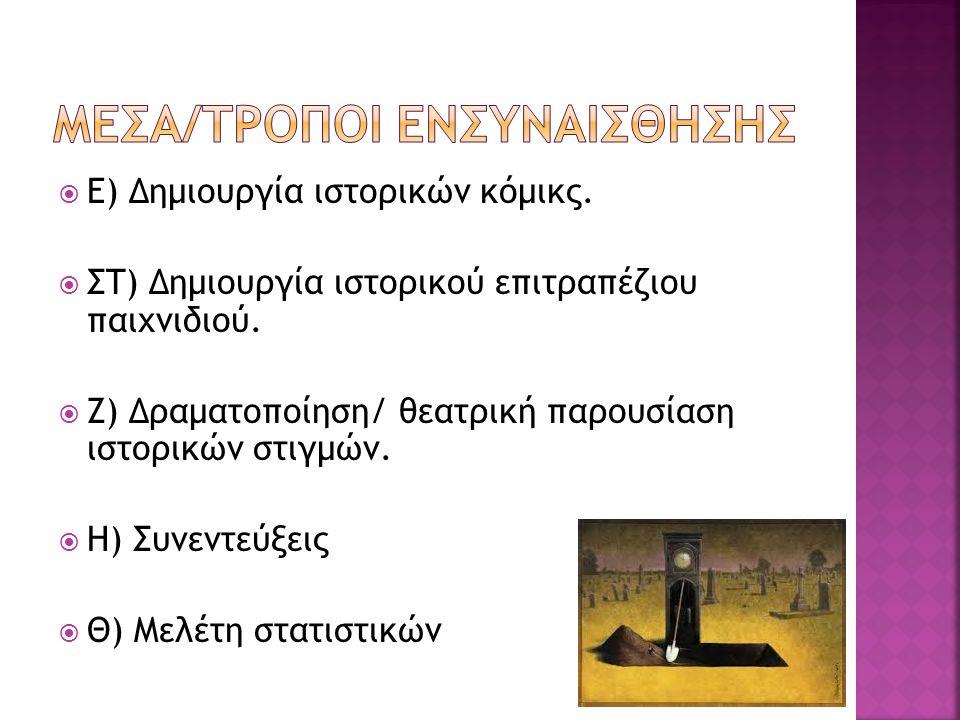  Ε) Δημιουργία ιστορικών κόμικς. ΣΤ) Δημιουργία ιστορικού επιτραπέζιου παιχνιδιού.