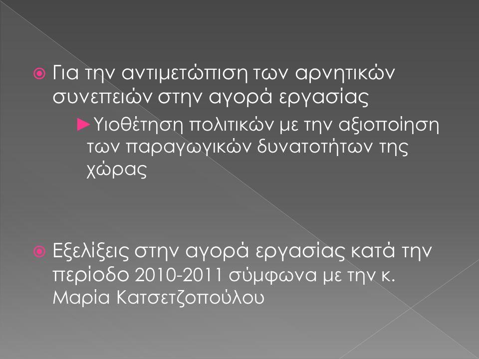  Για την αντιμετώπιση των αρνητικών συνεπειών στην αγορά εργασίας ►Υιοθέτηση πολιτικών με την αξιοποίηση των παραγωγικών δυνατοτήτων της χώρας  Εξελίξεις στην αγορά εργασίας κατά την περίοδο 2010-2011 σύμφωνα με την κ.