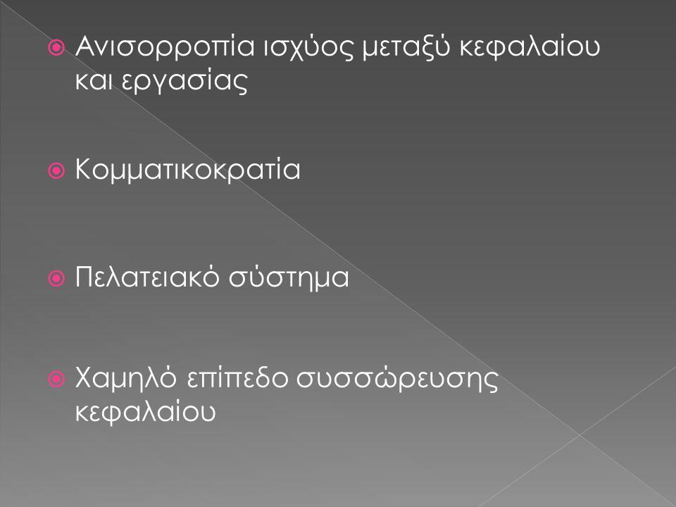  Αδυναμία μη επιτυχούς ένταξης της ελληνικής οικονομίας στο νέο σύστημα του διεθνούς καταμερισμού της εργασίας  Λάθη δημοσιονομικής πολιτικής ►Υπερδιόγκωση δημοσίων δαπανών ►Εκτεταμένη φοροδιαφυγή και εισφοροδιαφυγή  Μεγάλα εξωτερικά ελλείμματα  Περιορισμένη ανταγωνιστικότητα της ελληνικής οικονομίας