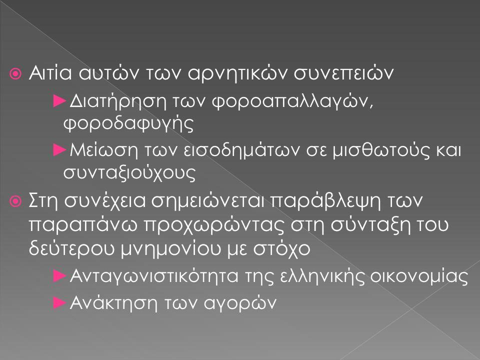  Αιτία αυτών των αρνητικών συνεπειών ►Διατήρηση των φοροαπαλλαγών, φοροδαφυγής ►Μείωση των εισοδημάτων σε μισθωτούς και συνταξιούχους  Στη συνέχεια σημειώνεται παράβλεψη των παραπάνω προχωρώντας στη σύνταξη του δεύτερου μνημονίου με στόχο ►Ανταγωνιστικότητα της ελληνικής οικονομίας ►Ανάκτηση των αγορών