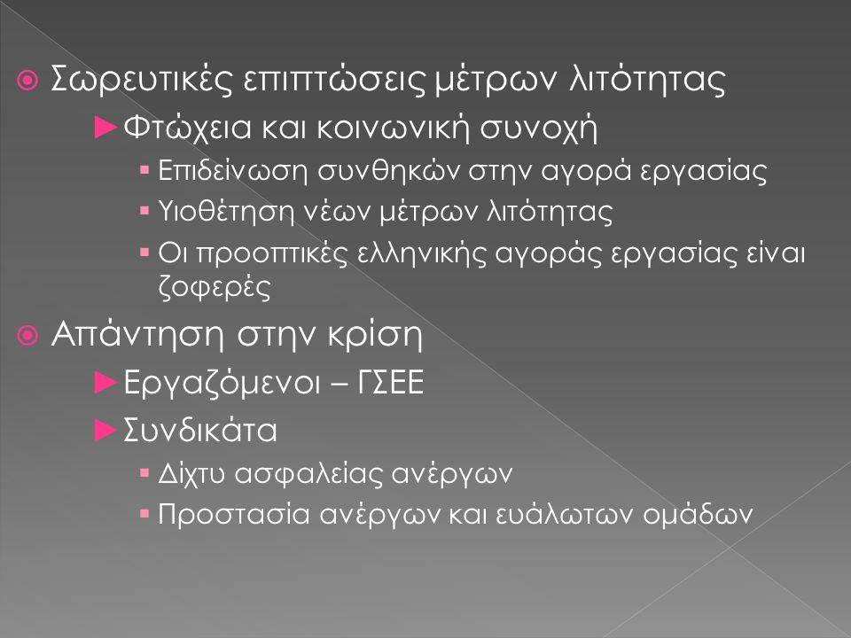  Σωρευτικές επιπτώσεις μέτρων λιτότητας ►Φτώχεια και κοινωνική συνοχή  Επιδείνωση συνθηκών στην αγορά εργασίας  Υιοθέτηση νέων μέτρων λιτότητας  Οι προοπτικές ελληνικής αγοράς εργασίας είναι ζοφερές  Απάντηση στην κρίση ►Εργαζόμενοι – ΓΣΕΕ ►Συνδικάτα  Δίχτυ ασφαλείας ανέργων  Προστασία ανέργων και ευάλωτων ομάδων