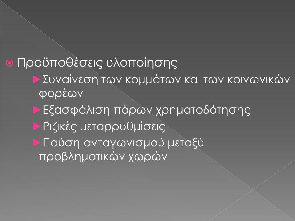  Προϋποθέσεις υλοποίησης ►Συναίνεση των κομμάτων και των κοινωνικών φορέων ►Εξασφάλιση πόρων χρηματοδότησης ►Ριζικές μεταρρυθμίσεις ►Παύση ανταγωνισμού μεταξύ προβληματικών χωρών