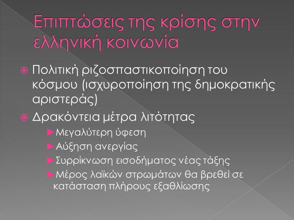 Οι μέσες ετήσιες αποδοχές το 2011 ανέρχονται στην Ελλάδα σε 25.470 ευρώ.
