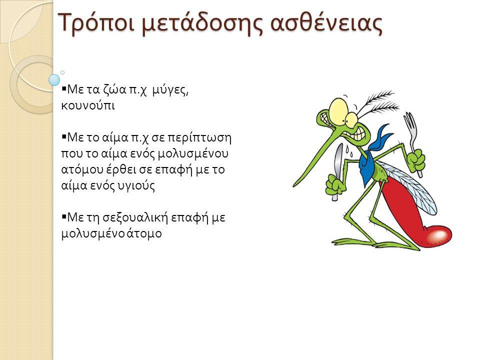 Τρόποι μετάδοσης ασθένειας  Με τα ζώα π. χ μύγες, κουνούπι  Με το αίμα π. χ σε περίπτωση που το αίμα ενός μολυσμένου ατόμου έρθει σε επαφή με το αίμ