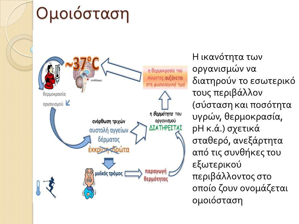 Ομοιόσταση Η ικανότητα των οργανισμών να διατηρούν το εσωτερικό τους περιβάλλον ( σύσταση και ποσότητα υγρών, θερμοκρασία, pH κ. ά.) σχετικά σταθερό,
