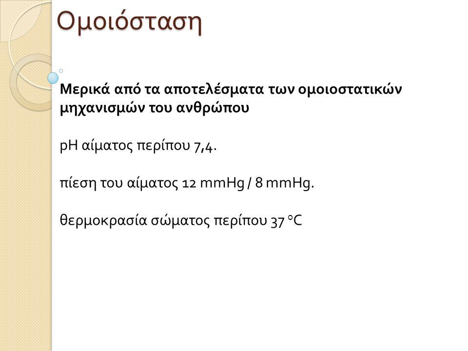 Ομοιόσταση Μερικά από τα αποτελέσματα των ομοιοστατικών μηχανισμών του ανθρώπου pH αίματος περίπου 7,4. πίεση του αίματος 12 mmHg / 8 mmHg. θερμοκρασί