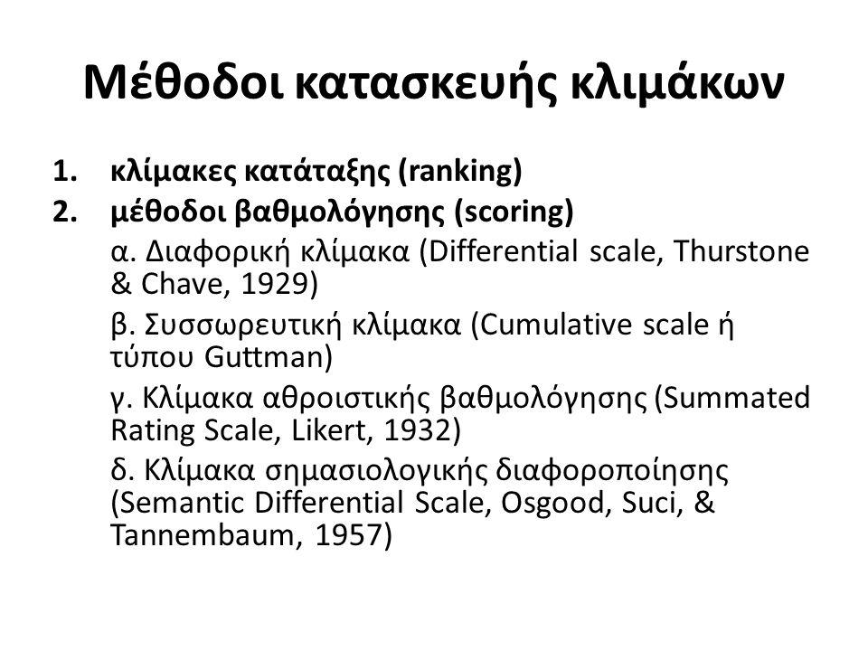 Μέθοδοι κατασκευής κλιμάκων 1.κλίμακες κατάταξης (ranking) 2.μέθοδοι βαθμολόγησης (scoring) α.