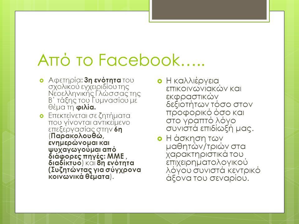 Εφαρμογή στην τάξη  Τίθεται το πρόβλημα: η ποιότητα των φιλικών δεσμών που αναπτύσσονται σε περιβάλλοντα κοινωνικής δικτύωσης.