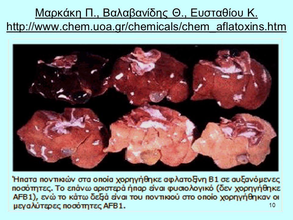 10 Μαρκάκη Π., Βαλαβανίδης Θ., Ευσταθίου Κ. http://www.chem.uoa.gr/chemicals/chem_aflatoxins.htm