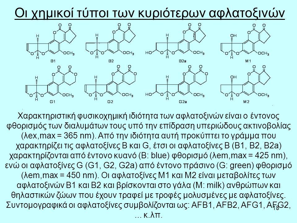 18 Οι χημικοί τύποι των κυριότερων αφλατοξινών Χαρακτηριστική φυσικοχημική ιδιότητα των αφλατοξινών είναι ο έντονος φθορισμός των διαλυμάτων τους υπό την επίδραση υπεριώδους ακτινοβολίας (λex,max = 365 nm).