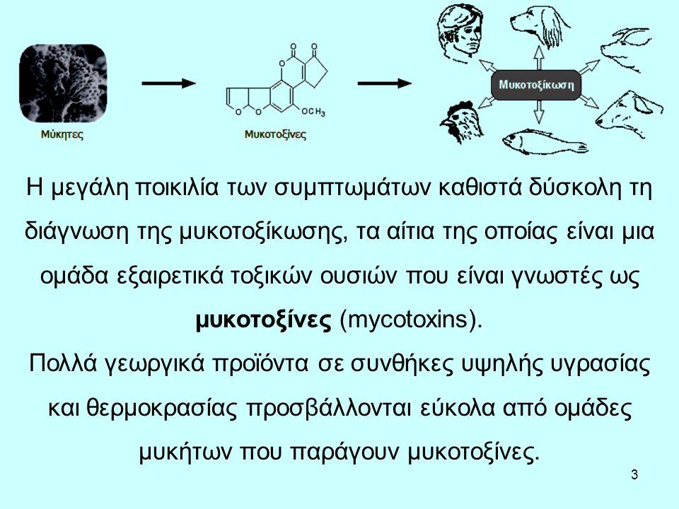 3 Η μεγάλη ποικιλία των συμπτωμάτων καθιστά δύσκολη τη διάγνωση της μυκοτοξίκωσης, τα αίτια της οποίας είναι μια ομάδα εξαιρετικά τοξικών ουσιών που είναι γνωστές ως μυκοτοξίνες (mycotoxins).
