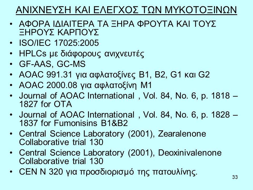 33 ΑΝΙΧΝΕΥΣΗ ΚΑΙ ΕΛΕΓΧΟΣ ΤΩΝ ΜΥΚΟΤΟΞΙΝΩΝ ΑΦΟΡΑ ΙΔΙΑΙΤΕΡΑ ΤΑ ΞΗΡΑ ΦΡΟΥΤΑ ΚΑΙ ΤΟΥΣ ΞΗΡΟΥΣ ΚΑΡΠΟΥΣ ISO/IEC 17025:2005 HPLCs με διάφορους ανιχνευτές GF-AAS, GC-MS AOAC 991.31 για αφλατοξίνες B1, B2, G1 και G2 AOAC 2000.08 για αφλατοξίνη M1 Journal of AOAC International, Vol.