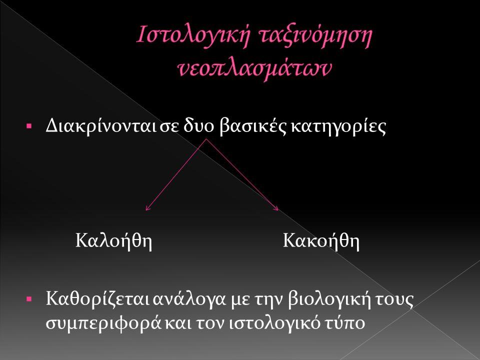  Διακρίνονται σε δυο βασικές κατηγορίες Καλοήθη Κακοήθη  Καθορίζεται ανάλογα με την βιολογική τους συμπεριφορά και τον ιστολογικό τύπο