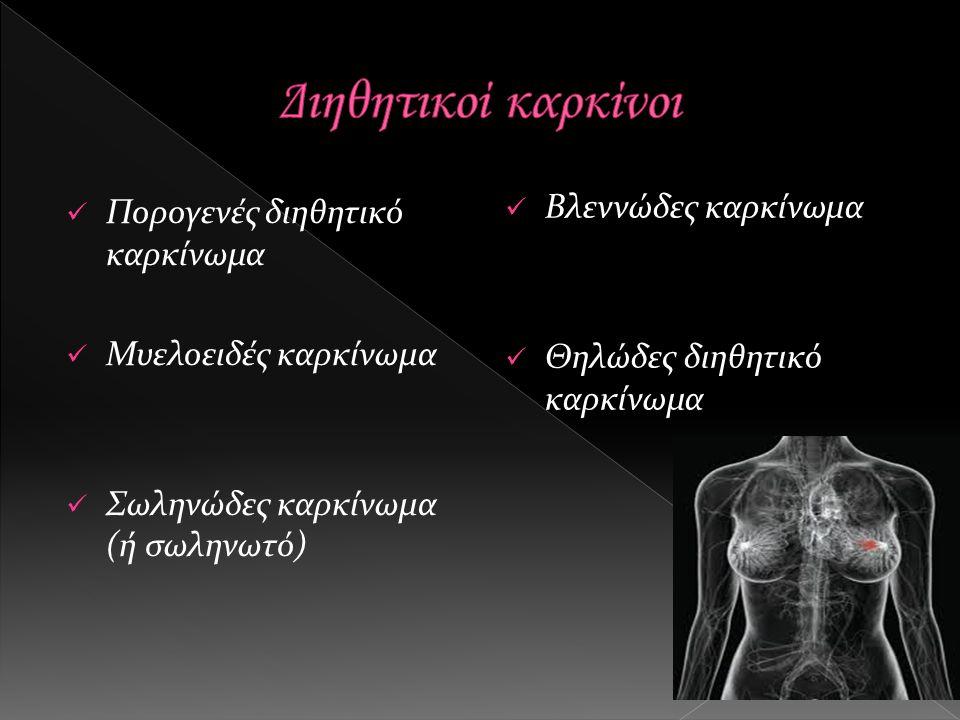 Πορογενές διηθητικό καρκίνωμα Μυελοειδές καρκίνωμα Σωληνώδες καρκίνωμα (ή σωληνωτό) Βλεννώδες καρκίνωμα Θηλώδες διηθητικό καρκίνωμα