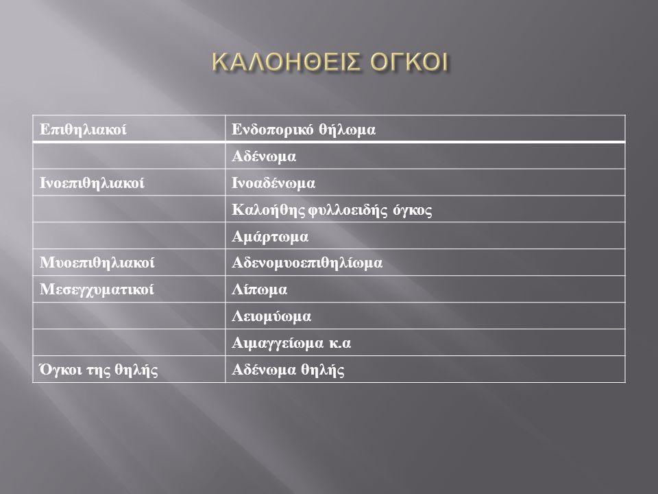 Επιθηλιακοί Ενδοπορικό θήλωμα Αδένωμα ΙνοεπιθηλιακοίΙνοαδένωμα Καλοήθης φυλλοειδής όγκος Αμάρτωμα ΜυοεπιθηλιακοίΑδενομυοεπιθηλίωμα ΜεσεγχυματικοίΛίπωμα Λειομύωμα Αιμαγγείωμα κ.