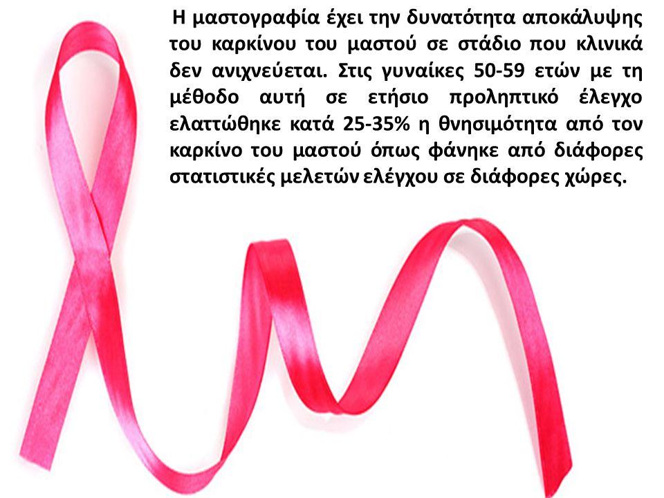Η μαστογραφία έχει την δυνατότητα αποκάλυψης του καρκίνου του μαστού σε στάδιο που κλινικά δεν ανιχνεύεται. Στις γυναίκες 50-59 ετών με τη μέθοδο αυτή