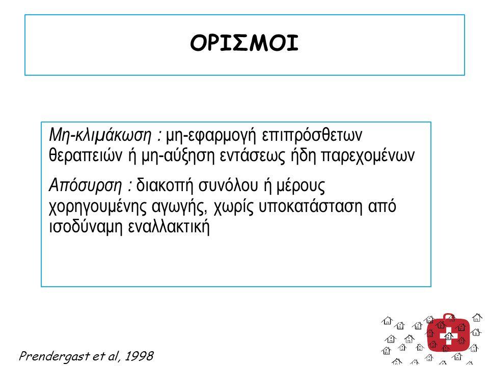 ΟΡΙΣΜΟΙ Μη-κλιμάκωση : μη-εφαρμογή επιπρόσθετων θεραπειών ή μη-αύξηση εντάσεως ήδη παρεχομένων Απόσυρση : διακοπή συνόλου ή μέρους χορηγουμένης αγωγής, χωρίς υποκατάσταση από ισοδύναμη εναλλακτική Prendergast et al, 1998