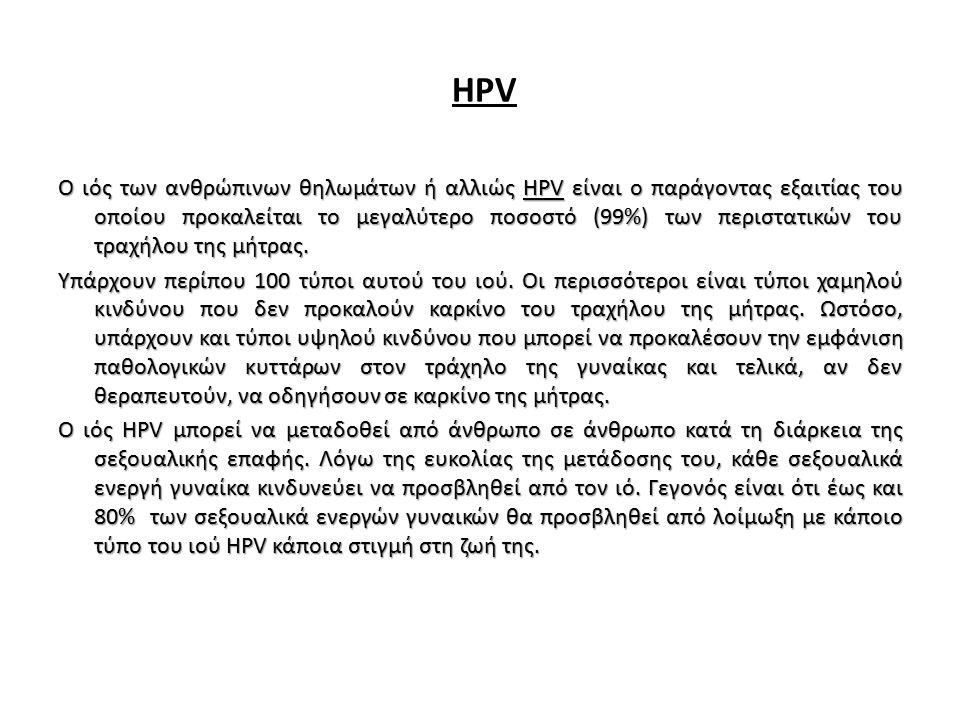 HPV Ο ιός των ανθρώπινων θηλωμάτων ή αλλιώς HPV είναι ο παράγοντας εξαιτίας του οποίου προκαλείται το μεγαλύτερο ποσοστό (99%) των περιστατικών του τρ