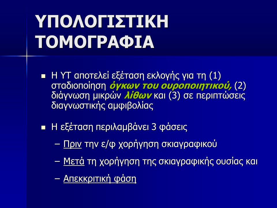 ΥΠΟΛΟΓΙΣΤΙΚΗ ΤΟΜΟΓΡΑΦΙΑ Η ΥΤ αποτελεί εξέταση εκλογής για τη (1) σταδιοποίηση όγκων του ουροποιητικού, (2) διάγνωση μικρών λίθων και (3) σε περιπτώσει