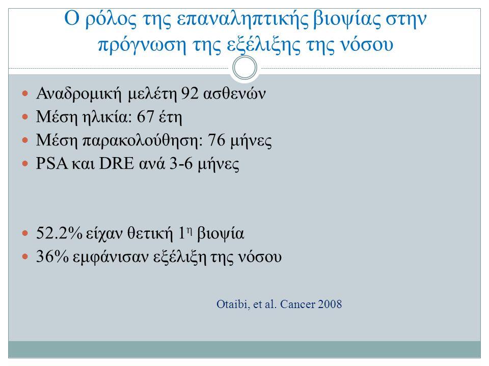 Ο ρόλος της επαναληπτικής βιοψίας στην πρόγνωση της εξέλιξης της νόσου Αναδρομική μελέτη 92 ασθενών Μέση ηλικία: 67 έτη Μέση παρακολούθηση: 76 μήνες PSA και DRE ανά 3-6 μήνες 52.2% είχαν θετική 1 η βιοψία 36% εμφάνισαν εξέλιξη της νόσου Otaibi, et al.