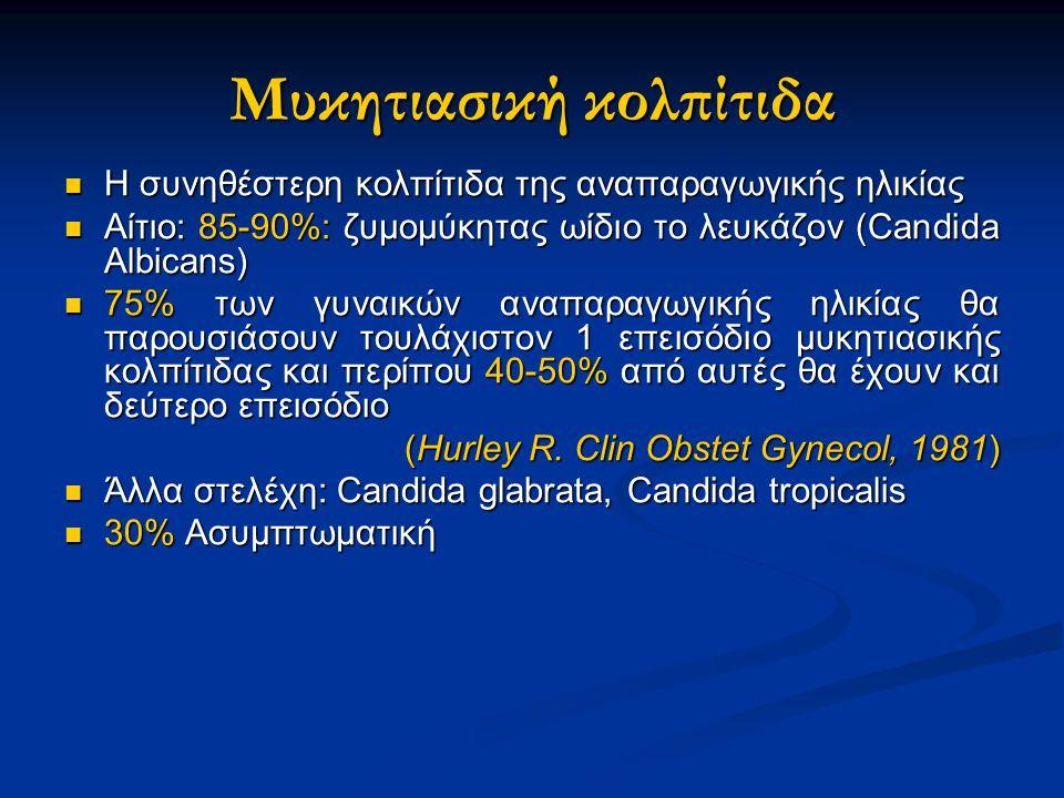 Μυκητιασική κολπίτιδα Η συνηθέστερη κολπίτιδα της αναπαραγωγικής ηλικίας Η συνηθέστερη κολπίτιδα της αναπαραγωγικής ηλικίας Αίτιο: 85-90%: ζυμομύκητας ωίδιο το λευκάζον (Candida Albicans) Αίτιο: 85-90%: ζυμομύκητας ωίδιο το λευκάζον (Candida Albicans) 75% των γυναικών αναπαραγωγικής ηλικίας θα παρουσιάσουν τουλάχιστον 1 επεισόδιο μυκητιασικής κολπίτιδας και περίπου 40-50% από αυτές θα έχουν και δεύτερο επεισόδιο 75% των γυναικών αναπαραγωγικής ηλικίας θα παρουσιάσουν τουλάχιστον 1 επεισόδιο μυκητιασικής κολπίτιδας και περίπου 40-50% από αυτές θα έχουν και δεύτερο επεισόδιο (Hurley R.