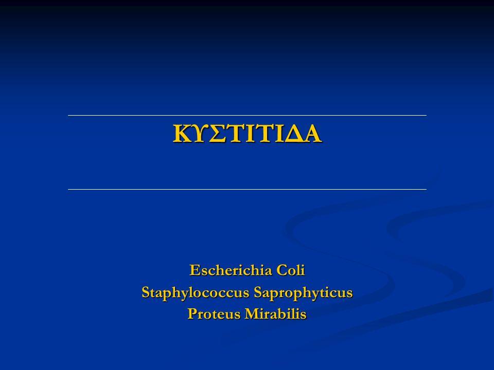 ΚΥΣΤΙΤΙΔΑ Escherichia Coli Staphylococcus Saprophyticus Proteus Mirabilis
